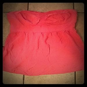 Hot pink strapless top